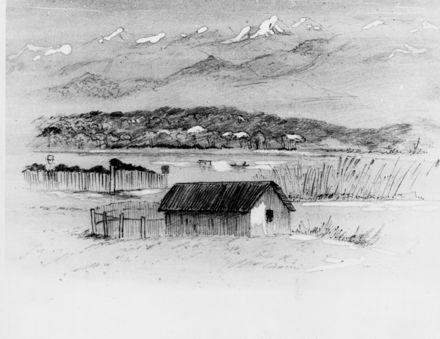 Horowhenua, lake & ranges (Hadfield sketch)