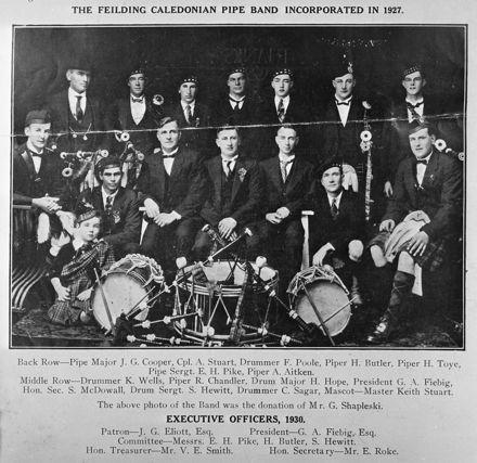 Feilding Caledonian Pipe Band, c. 1930