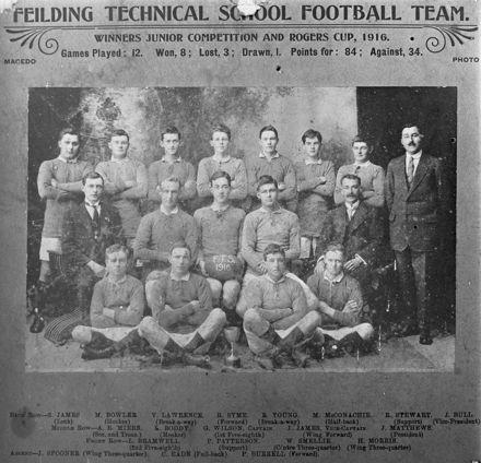 Feilding Technical School football team 1916
