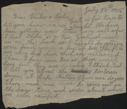 Letter home from Gallipoli during WWI