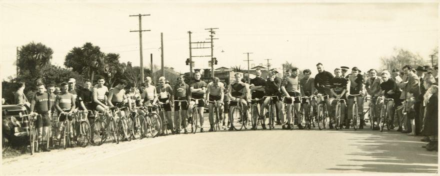 Competitors in bike race
