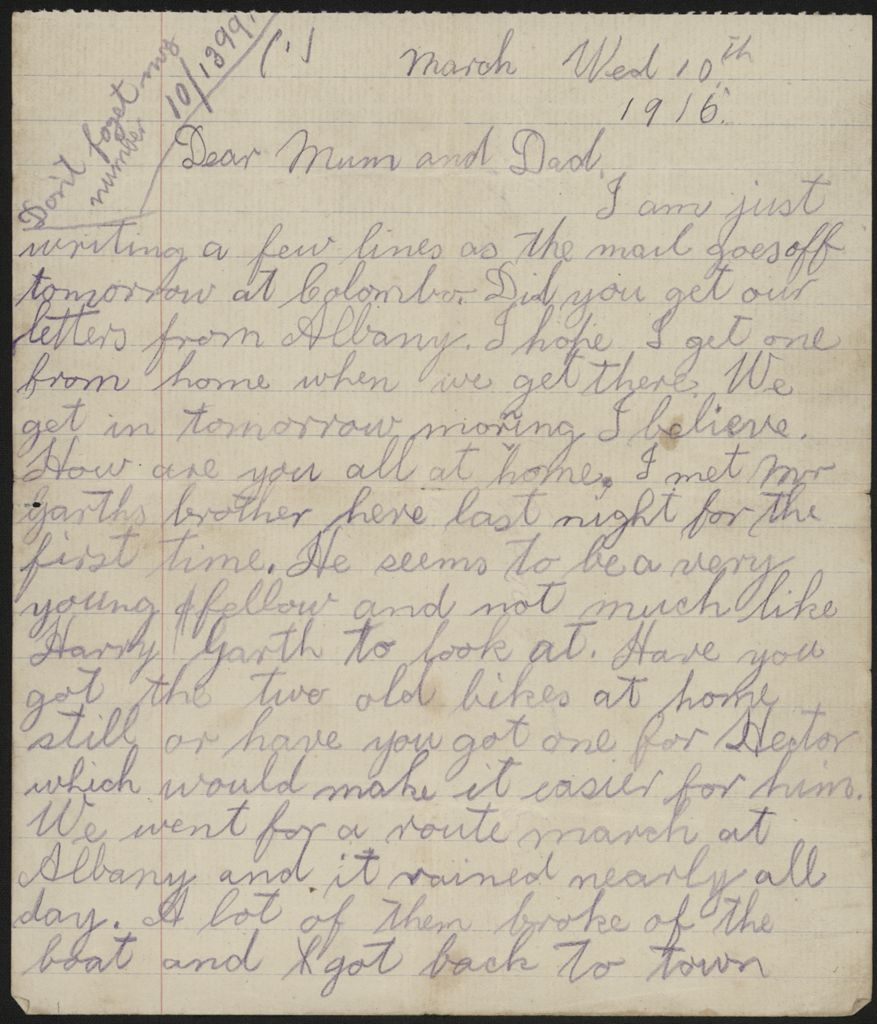 Letter from Len Argyle during WWI