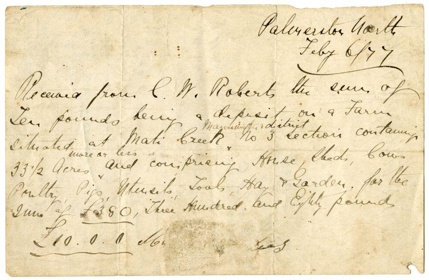 Charles Robêrt's Receipt for Property Deposit