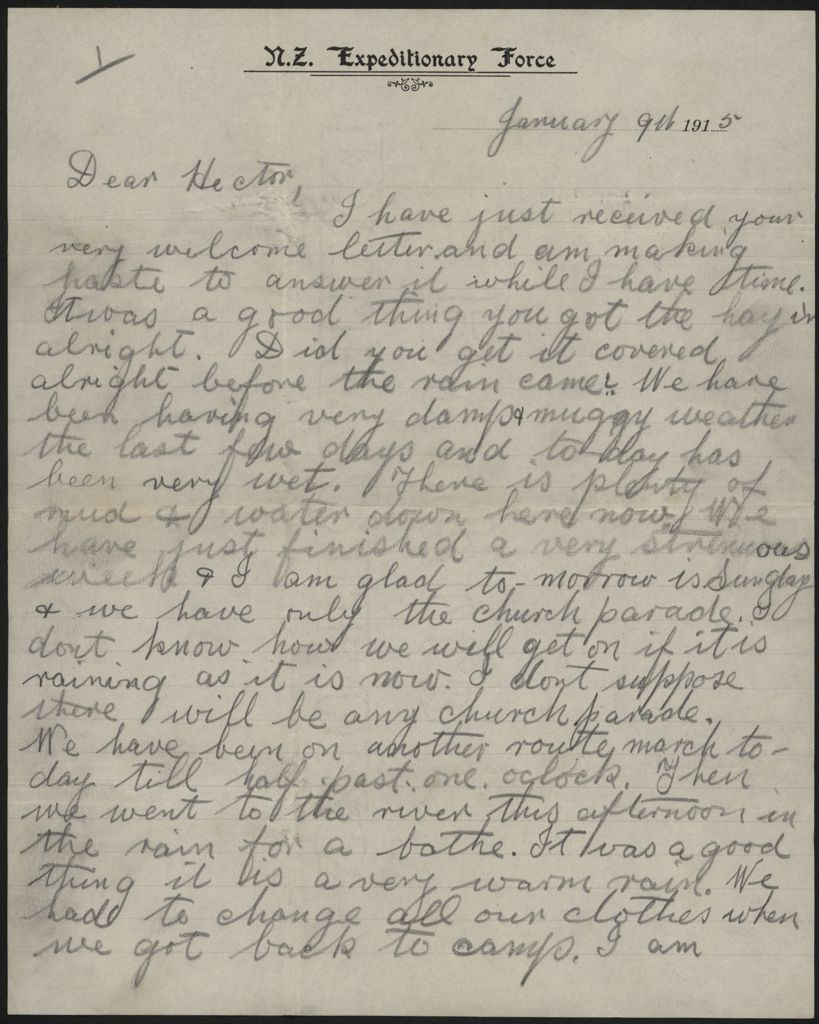 Letter home from training, during WWI