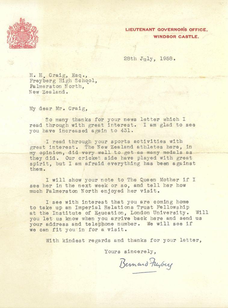 Letter from Sir Bernard Cyril Freyberg