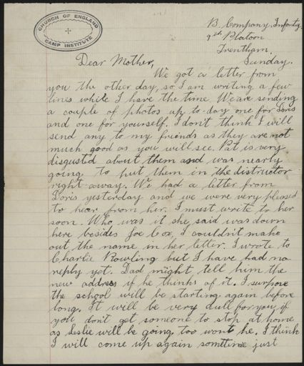 Letter from Len Argyle, from Trentham in WWI