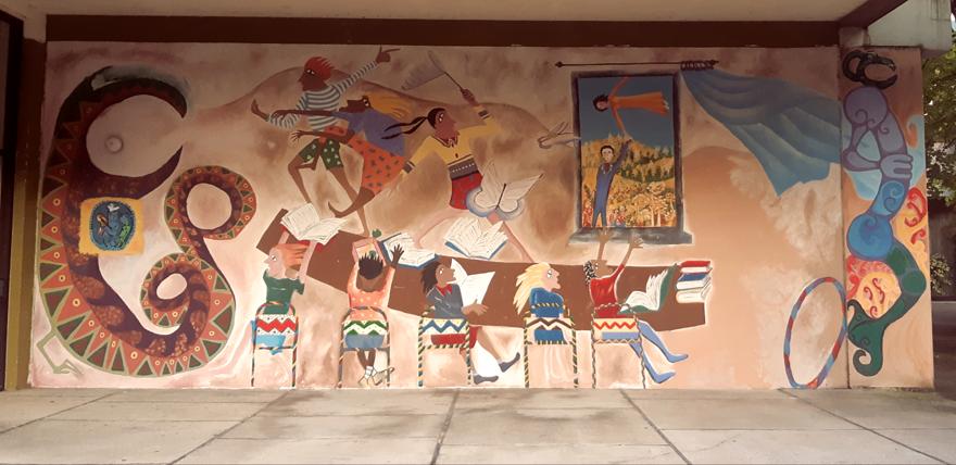 Mural at Massey University's old teaching college Hokowhitu campus