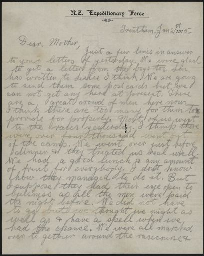Letter from Trentham during WW1