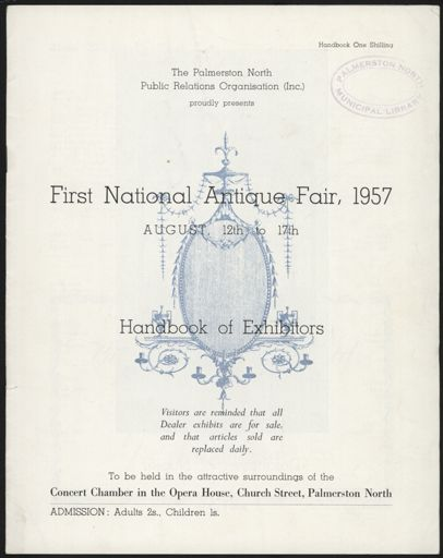 """First National Antique Fair, 1957"" handbook for exhibitors"