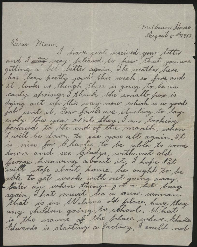Letter home from Len Argyle